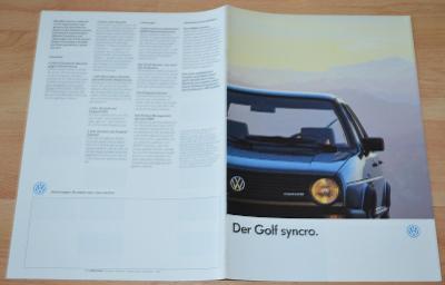 VOLKSWAGEN GOLF SYNCRO - DOBOVÝ ORIGINÁLNÍ PROSPEKT A4 (1/1987)