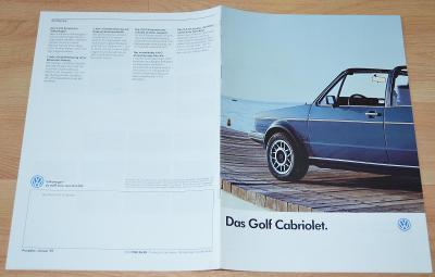 VOLKSWAGEN GOLF CABRIOLET - DOBOVÝ ORIGINÁLNÍ PROSPEKT A4 (1987)