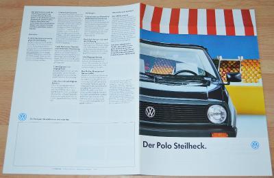 VOLKSWAGEN POLO - DOBOVÝ ORIGINÁLNÍ PROSPEKT A4 (10/1987)