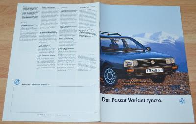 VOLKSWAGEN PASSAT VARIANT SYNC- DOBOVÝ ORIGINÁLNÍ PROSPEKT A4 (1/1987)
