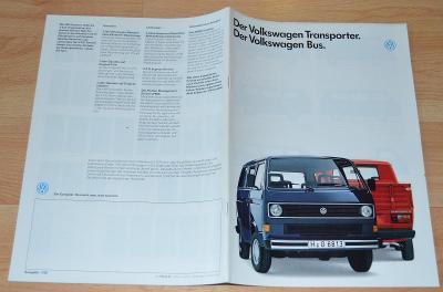 VOLKSWAGEN TRANSPORTER / BUS - DOBOVÝ ORIGINÁLNÍ PROSPEKT A4 (7/1987)