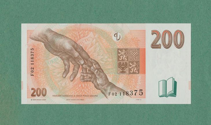 💎 200 korun, 1998   -  serie F 02  -   špičkový stav UNC 💎 - Bankovky