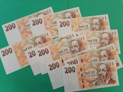 💎 200 korun, 10 ks  -  všechny vydané serie  -   špičkový stav UNC 💎