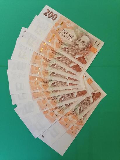 💎 200 korun, 10 ks  -  všechny vydané serie  -   špičkový stav UNC 💎 - Bankovky