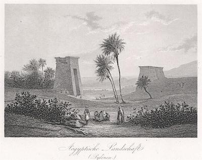Egypt pylony, oceloryt, (1860)