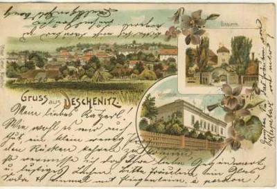 Dešenice (Deschenitz)- celkový pohled, pivovar, šk