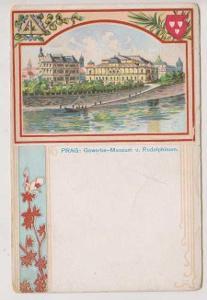 Praha, Národní muzeum a Rudolfinum, DA, litografie
