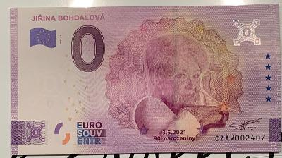 Euro bankovka 0 Jiřina Bohdalová