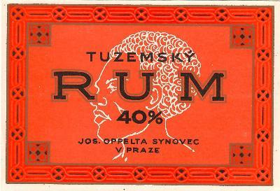 Stará etiketa rum Oppelta Praha