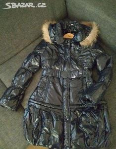 Luxusni lesklý modrý damský zimni kabát/bunda v. S