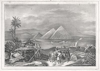 Gizeh Pyramidy, litografie, (1860)