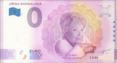 0 Euro Souvenir bankovka JIŘINA BOHDALOVÁ, ZAJÍMAVÉ číslo  001180