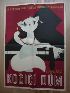 Kočičí dům (plakát, loutkový film ČSSR, Krajská lou