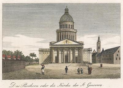 Paris Pantheon, Strahlheim, oceloryt, (1840)