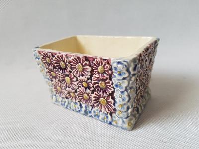 Starožitná keramická dóza asi na tabák květinový motiv značené