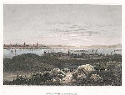 New York Bay, Meyer, kolor. oceloryt, 1850