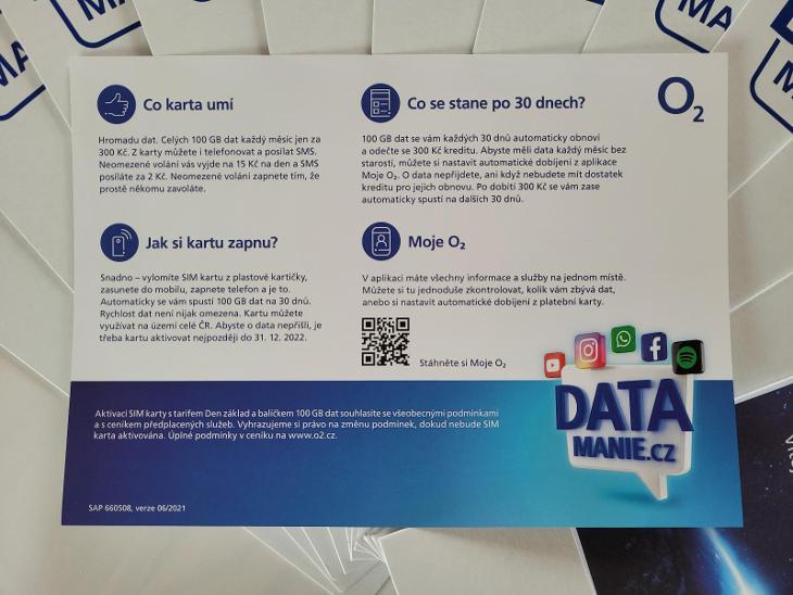 100 GB O2 limitovaná SIM karta Datamánie - Předplacené služby