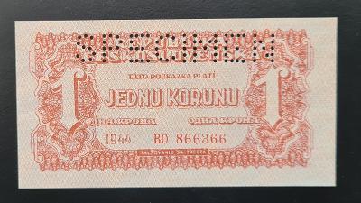 1 koruna 1944, specimen, stav UNC.