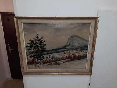 obraz olejomalba zimní krajina,František Viktor Podolay