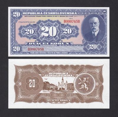 💎 20 korun československých T.G. MASARYK nevydaný návrh novotisk 2 💎