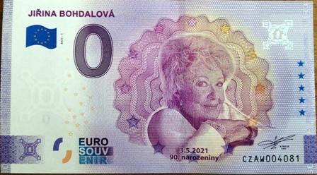 0 Euro Souvenir bankovka - JIŘINA BOHDALOVÁ - pamětní edice, č.: 4081 - Bankovky