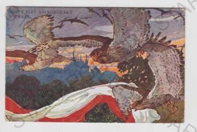 Sokol, pták, Praha, panorama, vlajka, slet, koloro