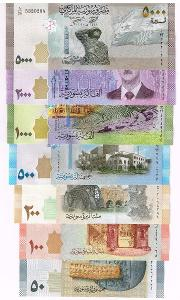 Sýrie sada 7 bankovek 50-5000 pounds UNC / N