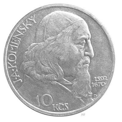 Stříbrná mince 10 Kčs Oslavy Jana Amose Komenského 1957