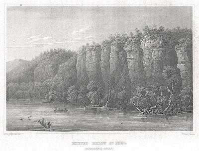 Mississipi St. Paul, Meyer, oceloryt, 1850