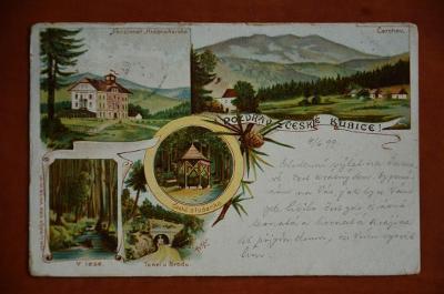 ČESKÁ KUBICE litografie secese Domažlice - pohlednice MF R-U DA 1899