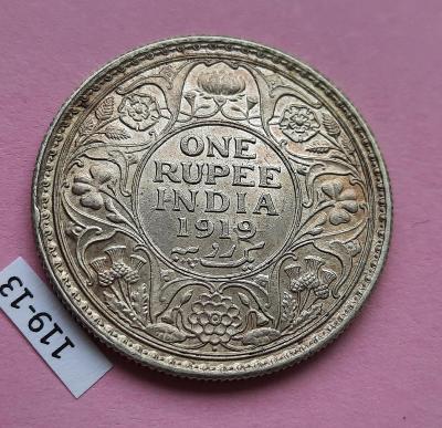 1 - ONE RUPEE INDIE INDIA 1919 - XF/UNC - stříbro George V