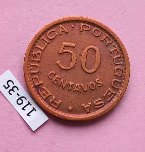 Angola portugalská kolonie - 50 centavos 1954