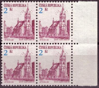 POF. 13a - MĚSTA, TMAVĚ FIALOVÁ, ČTYŘBLOK, MALÉ PERF. OTVORY (S3208)