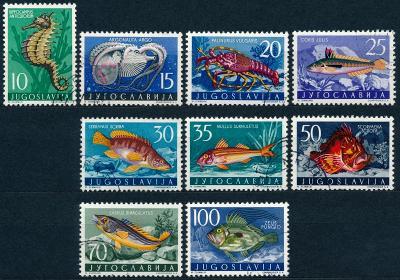 Jugoslávie 1956 ʘ /Mi. 795-03 ,  komplet , ryby ,  /L23/