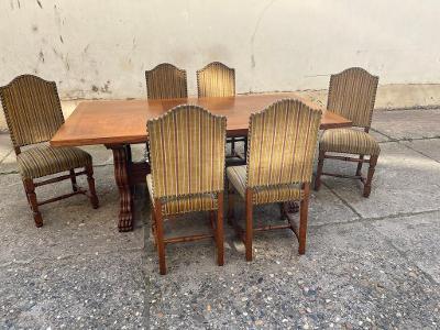TOP-Luxusní masivní  jídelní stůl 6 x židle -TOP
