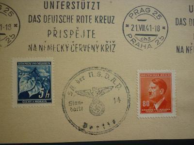 DR REICH ŘÍŠE 21 VII 1941 -PR SST STROJOVÉ NĚMECKÝ ČERVENÝ KŘÍŽ !! RR
