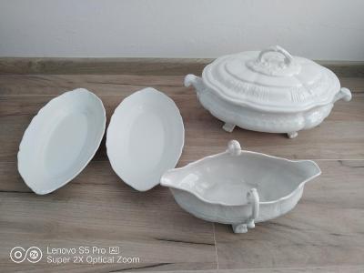 Starožitná polévková mísa + omáčník + dva talíře, dárek 4 skl. talířky