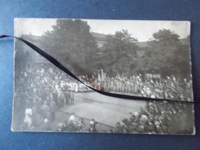 Originál foto legie legionáři návrat přivítání Hradec Králové