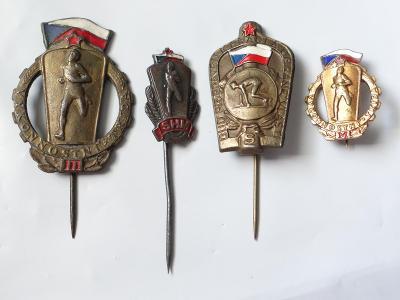 4x staré různé sportovní odznaky, viz foto.