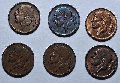 Belgie, 25, 50 cent, 1, 5 frank, 1951-1977 (20 ks)