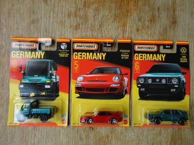 Matchbox Germany Mercedes-Benz ,Porsche 911 GT3,1990 VW Golf Country.