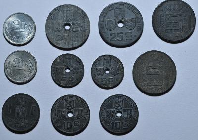 Belgie, 2. světová válka, 5, 10, 25 cent, 1, 2, 5 frank, 11 ks.