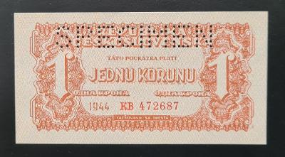 1 koruna 1944, série KB, stav UNC