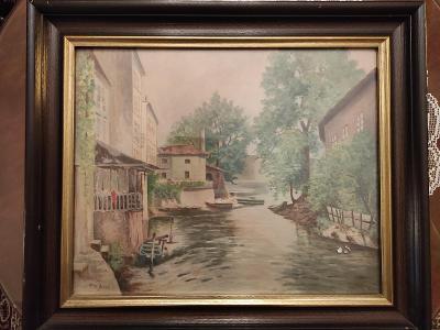 Pohled na Čertovku, Kampa, lakovaný akvarel, signováno, kolem 1920