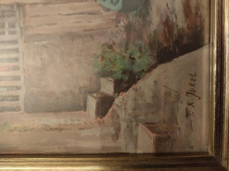 Pohled na Čertovku, lakovaný akvarel, signováno, kolem 1920 - Umění