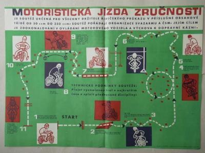 MOTORISTICKÁ JÍZDA ZRUČNOSTI - orig. starý PLAKÁT !!! 1964 - STAV !