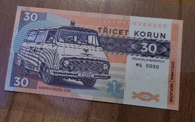 30 KORUN ČSSR SANITKA ŠKODA1203 SERIE MG 0000 2021