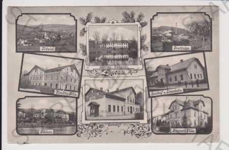 Sobotín (Zöptau) - celkový pohled, nádraží, vila,