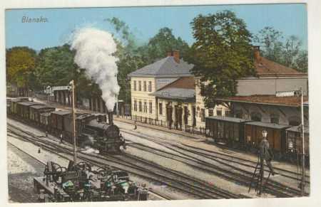 Blansko - nádraží, vlak, kolorovaná