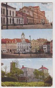 Teplice - nádraží, část náměstí (radnice), partie,